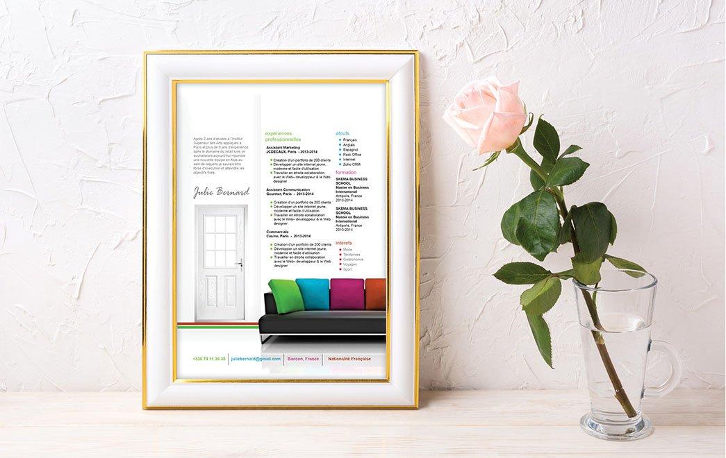 Exemple de CV égayé de différentes couleurs comme celles des décorations intérieures de maisons.