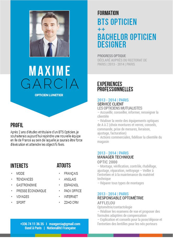 cv design  u2013 cv opticien  u00b7 mycvfactory