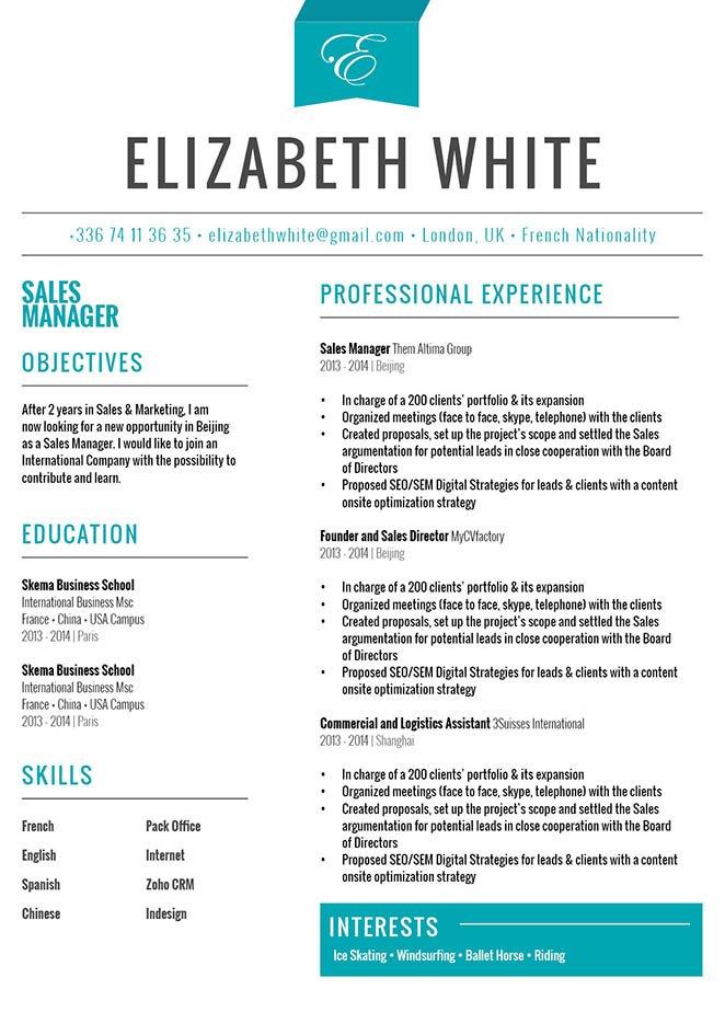 original resume format