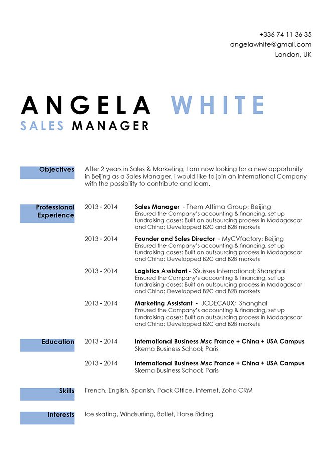 Simple resume template Agile Resume myCVfactory
