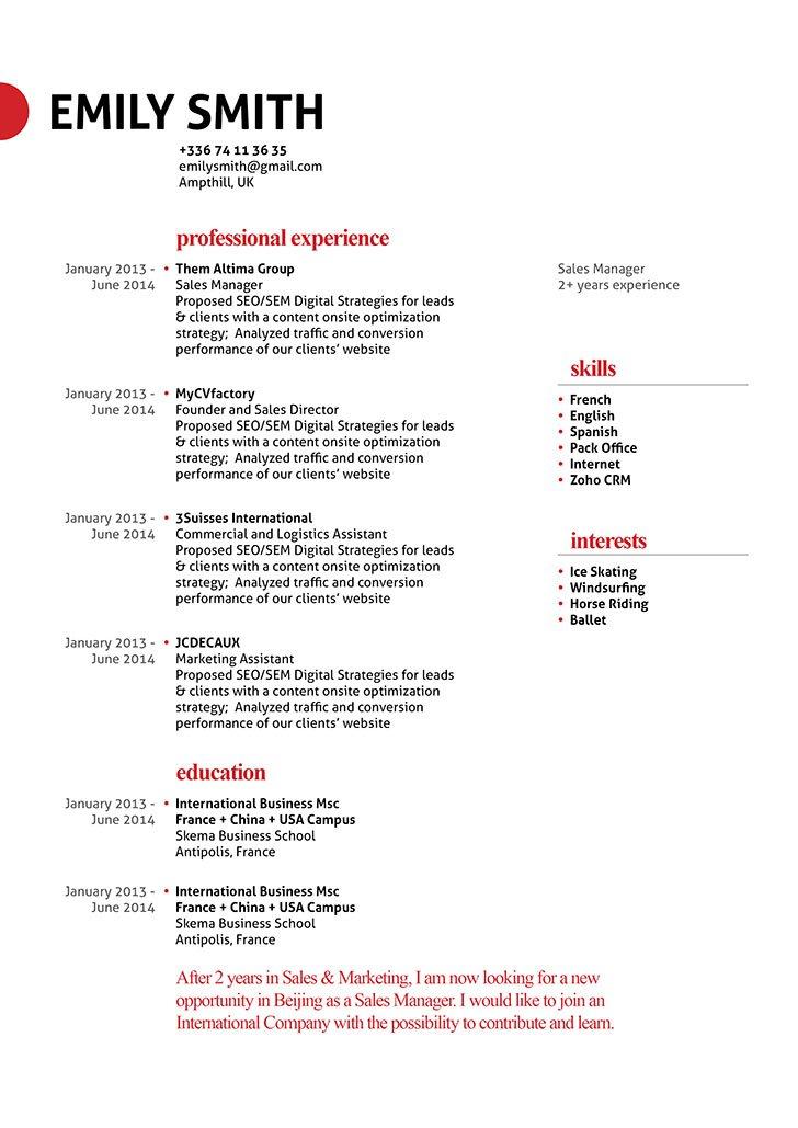resume template self starter resume mycvfactory