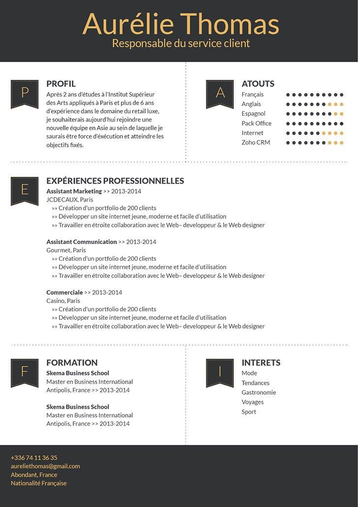 Un exemple de CV facile à lire et agréable à regarder.