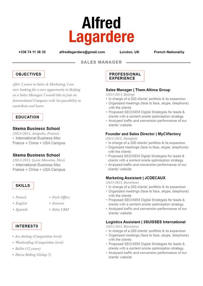 cv format balanced resume mycvfactory